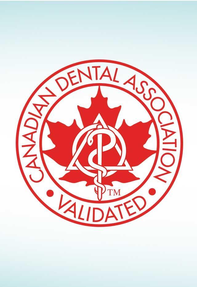Canadian dental association logo in red font