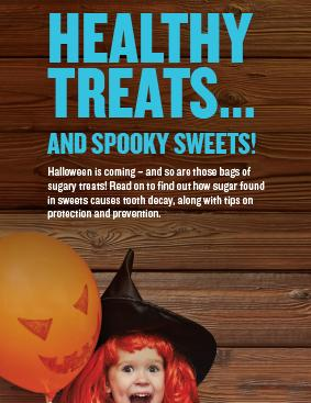 How sugar and sweets causes tooth decay with little girl in a halloween costume